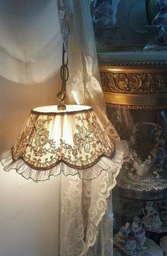Shabby chic lace hanging lamp