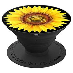 Sunflower Decor Girasol yellow Sun Flower Black Background - PopSockets Grip and Stand for Phones and Tablets Sunflower Yellow Flower Decor sunflower asteraceae helianthus Sunflower Room, Sunflower Gifts, Sunflower Flower, Watercolor Sunflower, Sunflower Design, Yellow Sunflower, Cute Gifts, Funny Gifts, Sunflower Accessories