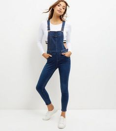 Blue Cotton Mix Skinny Leg Dungarees | New Look