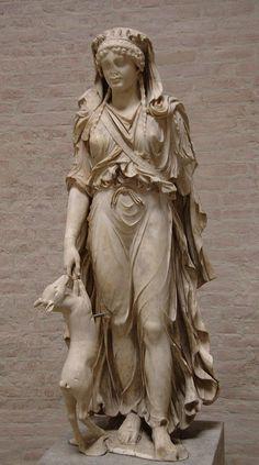 ❤ - Diana (Artemis), Roman statue (marble) copy of Greek original, 1st century AD, (Glyptothek, Munich).