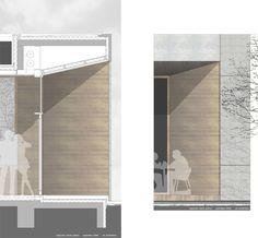 Extension Regional School (facade in section and elevation) // by architekten bda - raab Hafke lo Architecture Graphics, Facade Architecture, Contemporary Architecture, Architecture Presentation Board, Architectural Section, Building Systems, Modern Exterior, Construction, Planer