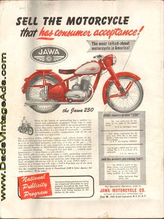 1949 Vintage Jawa 250 Motorcycle Franchise advertisement