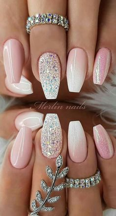 Stylish and Bright Summer Nail Design Colors and Ideas Part Cute Summer nails; Summer Nail polish Stylish and Bright Summer Nail Design Colors and Ideas Part Cute Summer nails; Sparkle Nail Designs, Sparkle Nails, Bright Nail Designs, Green Nail Designs, Pink Sparkly Nails, Green Nails, Blush Nails, Elegant Nail Designs, New Nail Designs