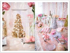 Glittery Trees and Pink Confections for our Nutcracker Birthday dessert bar. Event design by Alchemy Fine Events www.alchemyfineevents.com Photo by Troy Grover