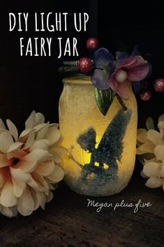 DIY Light Up Fairy Jar — Megan plus FIVE DIY glittery light up fairy jar. How to make your own fairy lantern from a mason jar and tissue paper. Mason Jar Fairy Lights, Jar Lights, Diy Fairy Jars, Mason Jar Gifts, Mason Jar Diy, Jar Crafts, Bottle Crafts, How To Make Lanterns, Lantern Making