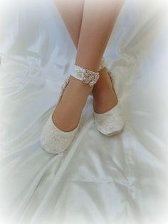 Lace Bridal BalletShoe,Lace Bridal Shoe,Champagne Blush Bridal Shoe, Rose Bridal Flat Shoe,Ivory Bridal Flat, Cream Bridal Shoe