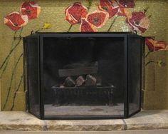 fireplace art mosaic | Poppy tile mosaic fireplace surround