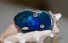 Black Opal and diamond pendant 18k yellow gold. John Ford Jewelers #galveston