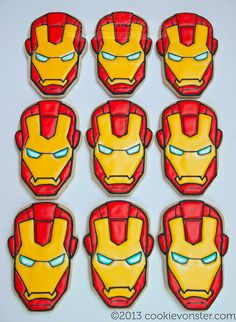 Ironman party favours custom cookies by Cookievonster, via Flickr