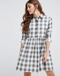 Buy it now. ASOS Gingham Smock Shirt Dress - Multi. Dress by ASOS Collection, Woven cotton, Point collar, Concealed button placket, Relaxed waist seam, Loose fit � falls loosely over the body, Machine wash, 100% Cotton, Our model wears a UK 8/EU 36/US 4 and is 173 cm/5'8� tall. ABOUT ASOS COLLECTION Score a wardrobe win no matter the dress code with our ASOS Collection own-label collection. From polished prom to the after party, our London-based design team scour the globe to nail your ne...