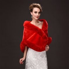 CHITONE Women's Faux Fur Wrap Cape Stole Shawl Shrug for Wedding/Party/Show | Winter Wedding Ideas >>> Visit the image link more details. (This is an affiliate link) #WinterWeddingIdeas