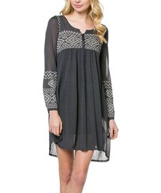 Another great find on #zulily! Charcoal Geometric Embroidered Shift Dress #zulilyfinds