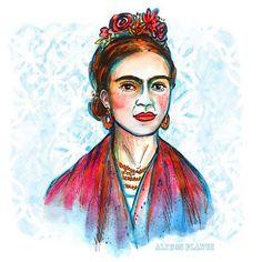 Watercolor illustration of Frida Kahlo { @alysonplante }