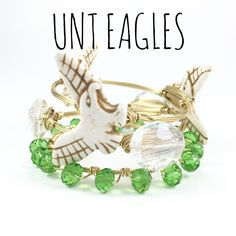 University of North Texas Eagles Game Day Wire Wrapped Bangles Set, Courtney And Courtnie, Howlite, Crystal Bracelet, Handmade Jewelry by CourtneyAndCourtnie on Etsy https://www.etsy.com/listing/241557386/university-of-north-texas-eagles-game