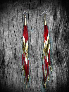 Royal Ruby Shoulder Dusters - Long Beaded Fringe Earrings - Southwester, Bohemian, Tribal, Statement, OOAK