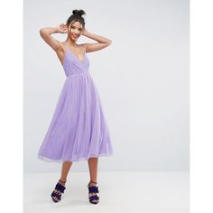 ASOS Pinny Extreme Tulle Mesh Midi Dress (145 BAM) via Polyvore featuring dresses, party dresses, asos dresses, night out dresses, cocktail prom dress and midi cocktail dress