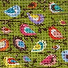 Alice Peterson Needlepoint Birds- I'd like this as a fabric on a stool or something