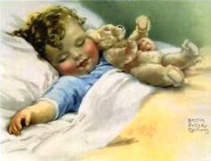 Bebê dormindo, Ilustração de Bessie Pease Gutmann.