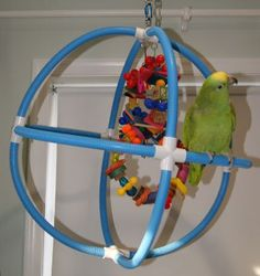 DIY parrot perch. Make your own spherical swing!..we added this to our 3rd Pinterest Project! Easy easy to make and turned out great!