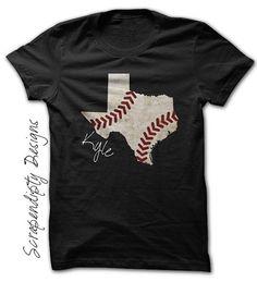 Texas Baseball Tee - Kids Baseball Shirt / State of Texas Baseball Outfit / Mens State Pride Tshirt / Baseball Texas Shirt / Customized Name by Scrapendipitees on Etsy Baseball Shirt Designs, Baseball Mom Shirts, Baseball Pants, Baseball Stuff, Baseball Snacks, Baseball Girlfriend, Softball Mom, Texas Baseball, Baseball Field
