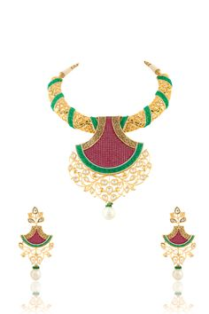 Vilandi with ruby stone and emerald beads studed with invisible setting in gold plating. Item number J15-204