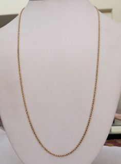 "14K GOLD DIAMOND CUT ROPE CHAIN 1.7MM NECKLACE ~ 24 1/2"" LONG 5.9 GRAMS"