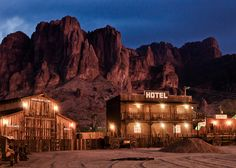 Goldfield Ghost Town in front of the Superstition Mountains, Apache Junction, Arizona - Photo by Jake Case http://www.jakecase.com/galleries/desert-majesty