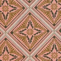 Bomuld+rosa+m+pudde/oliven+flise+mønster