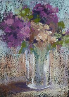 Hydrangeas Still Life 5x7 Original Pastel Painting Karen Margulis. $45.00, via Etsy.
