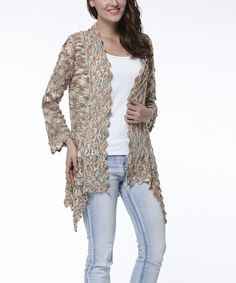 Look at this Simply Couture Apricot Crochet Open Cardigan on #zulily today!