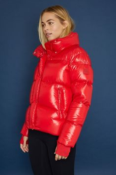 This Andi Jacket from Sam is the cherry on top of winter. A shiny red puffer jacket with warm down fill, you'll stay warm and dry with it's water-resistant shell and stand collar. Maternity Activewear, Stylish Winter Outfits, Puffy Jacket, Adidas, Best Sneakers, Jacket Style, Jackets For Women, Winter Jackets, How To Wear