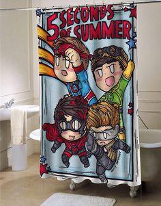 5 Second Of Summer shower curtain - myshowercurtains #showercurtain