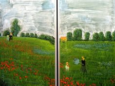 Waldorf ~ ? grade ~ History ~ Great Artists ~ Field of Poppies by Monet ~ chalkboard drawing