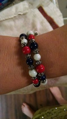 Cute memory wire bracelet in Red, White, and Blue.