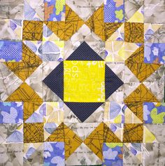 Arrow Crown block by Dorthe Niemann -- I love how this block combines colorful low volume fabrics with neutrals and bright prints.