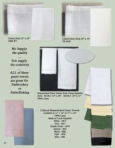 Blank Cotton and Linen Huck Towels for Embroidery or Embellishing