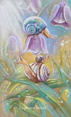 Where the air is saturated with delicate aromas of herbs; Fish Drawings, Art Drawings, Fantasy Paintings, Fantasy Art, Watercolor Illustration, Watercolor Art, Snail Cartoon, Snail Art, Crystal Drawing