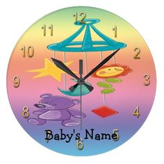 Wall Clock features a yellow pink and blue pastel gradient background that is customizable, Mobile with teddy bear, moon, stars and flower. ...