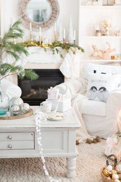 Christmas Home Tour Part 2 Shabby Chic Christmas, Elegant Christmas, Christmas 2019, Christmas Home, White Christmas, Christmas Ideas, Frosted Christmas Tree, Christmas Decorations, Holiday Decor