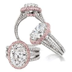 Jack Kelege pink halo oval diamond engagement ring | Fredric H. Rubel Jewelers