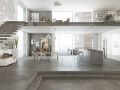 Mapei's impressive Ultratop range features two ideal coating products for creating highly original decorative interior floors and walls with classic pronounced effects; the course grained Ultratop Loft F for a materic. Loft House, House Rooms, Concrete Interiors, Concrete Houses, Concrete Floor, Loft Interiors, Office Interior Design, Interior Modern, Modern Luxury