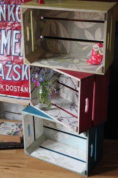 Ideas for fruit box furniture diy wooden crates Pallet Crates, Wood Crates, Wood Boxes, Painted Furniture, Diy Furniture, Eco Deco, Diy Wooden Crate, Fruit Box, Diy Box