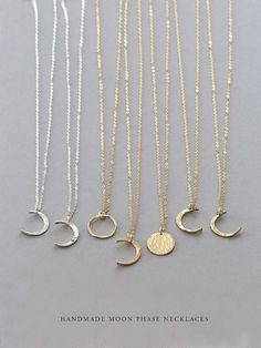 Dainty Moon Phase Necklaces • Simple Moon Necklace • Crescent Moon, New Moon, Full Moon • 14k Gold Fill, Sterling Silver, Rose Gold