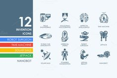 12 invention icons by Palau on Creative Market