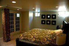 french doors to basement bedroom