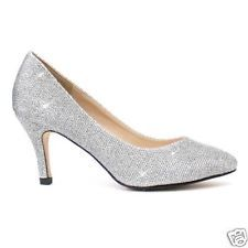 "SILVER  SPARKLE GLITTERY  3"" MEDIUM LOW HEEL COURT SHOE PARTIES WEDDINGS"