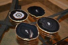 I need these! Agate Slice Coasters with Gold Leaf Edging Set by BaytowneMarket, $52.00
