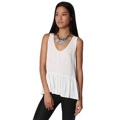 White top with peplum hem in polka print – Fashion Gal Freedom