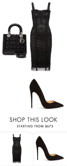 """""""Untitled #1649"""" by katieehatesallofyou on Polyvore featuring Dolce&Gabbana, Christian Louboutin and Christian Dior"""