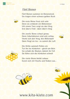 """Fingerspiele"""" eBook Five bees, finger play, division of labor bees, poem kindergarten elementary school Bee Poem, Diy Crafts To Do, Finger Plays, Fun Fair, Kids And Parenting, Elementary Schools, Poems, Preschool, Division"""